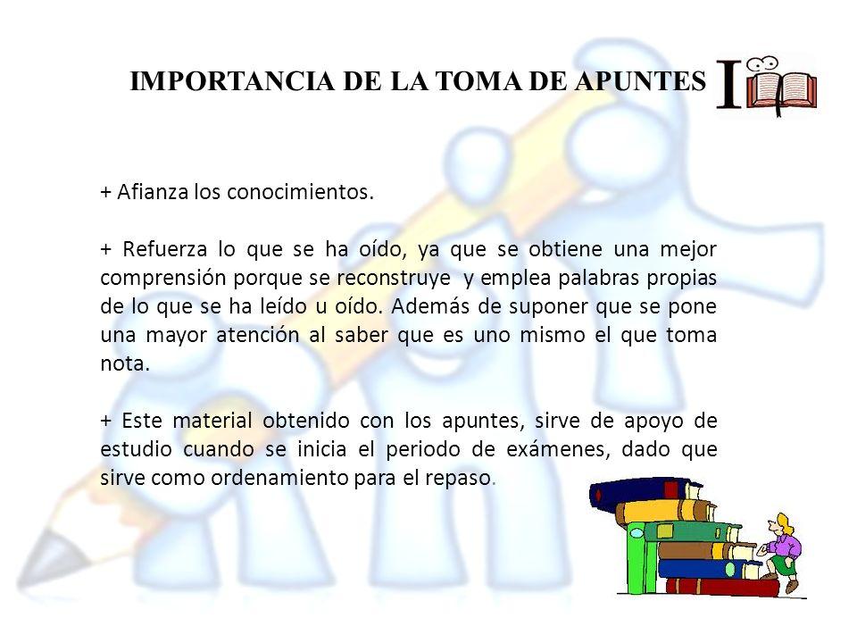 IMPORTANCIA DE LA TOMA DE APUNTES