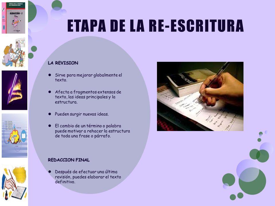 ETAPA DE LA RE-ESCRITURA