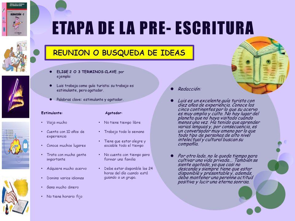 ETAPA DE LA PRE- ESCRITURA