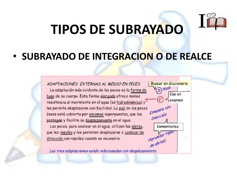 TIPOS DE SUBRAYADO SUBRAYADO DE INTEGRACION O DE REALCE