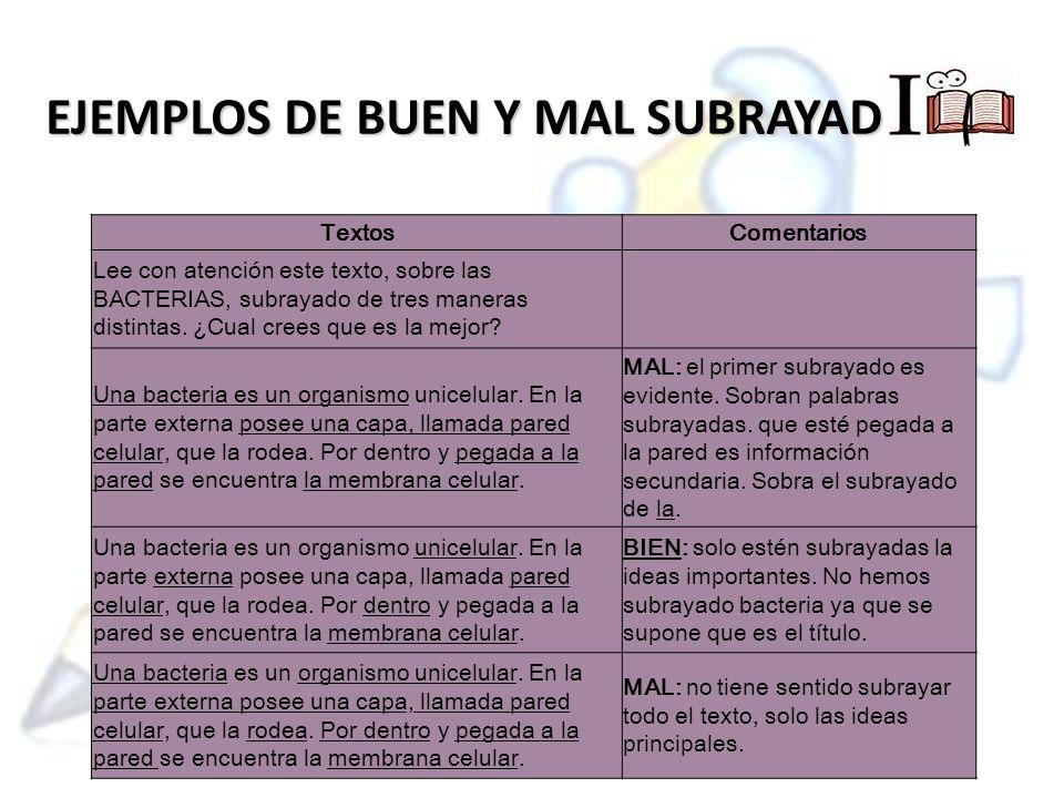 EJEMPLOS DE BUEN Y MAL SUBRAYADO