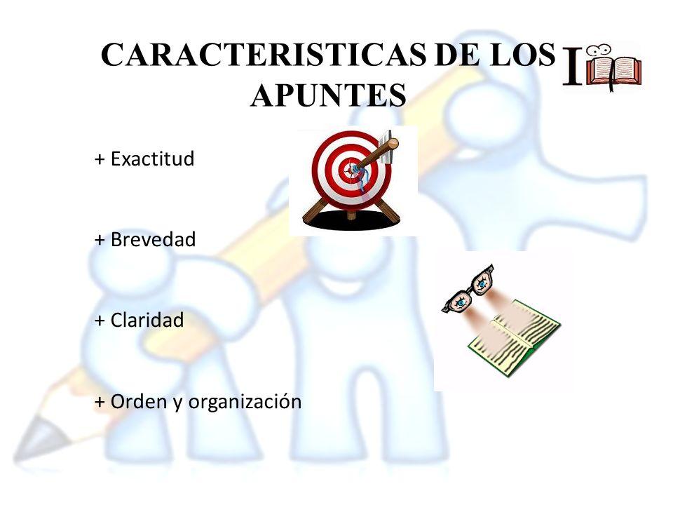 CARACTERISTICAS DE LOS APUNTES