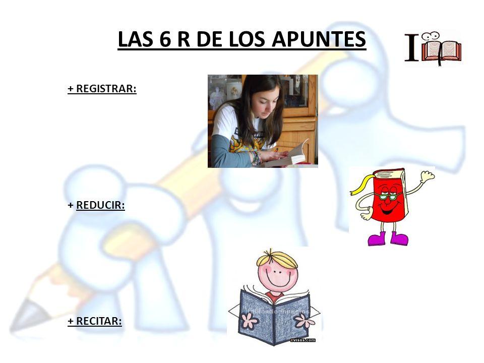 LAS 6 R DE LOS APUNTES + REGISTRAR: + REDUCIR: + RECITAR: