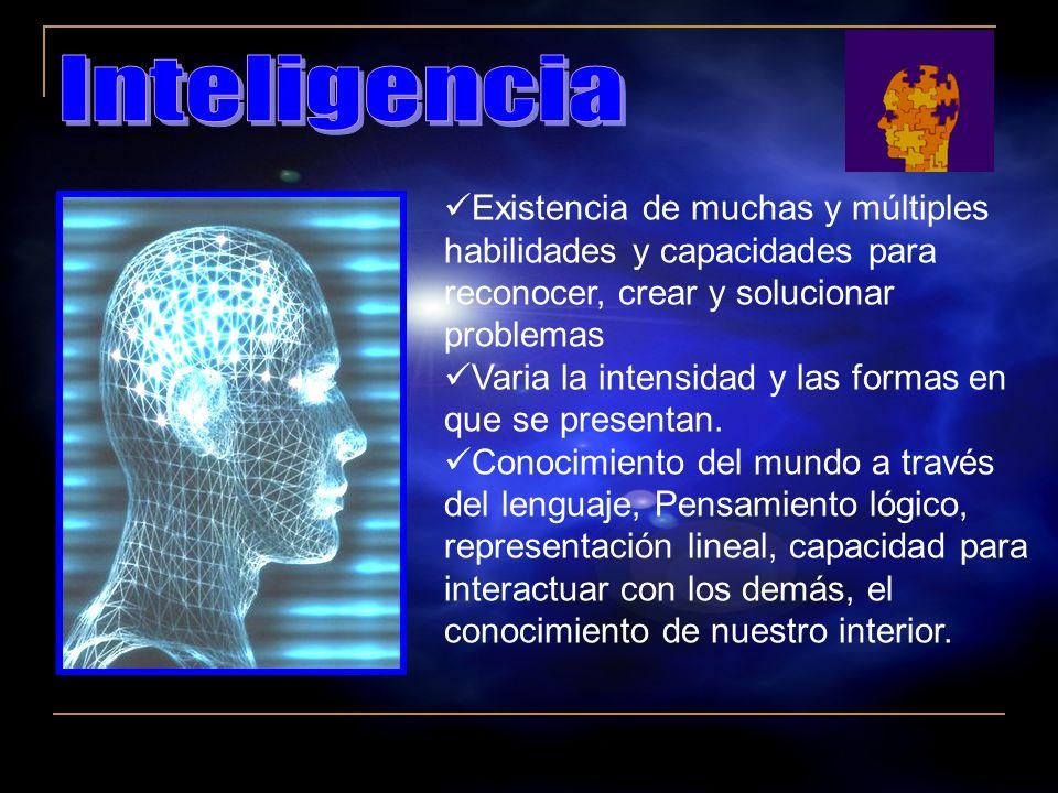 Inteligencia Existencia de muchas y múltiples habilidades y capacidades para reconocer, crear y solucionar problemas.