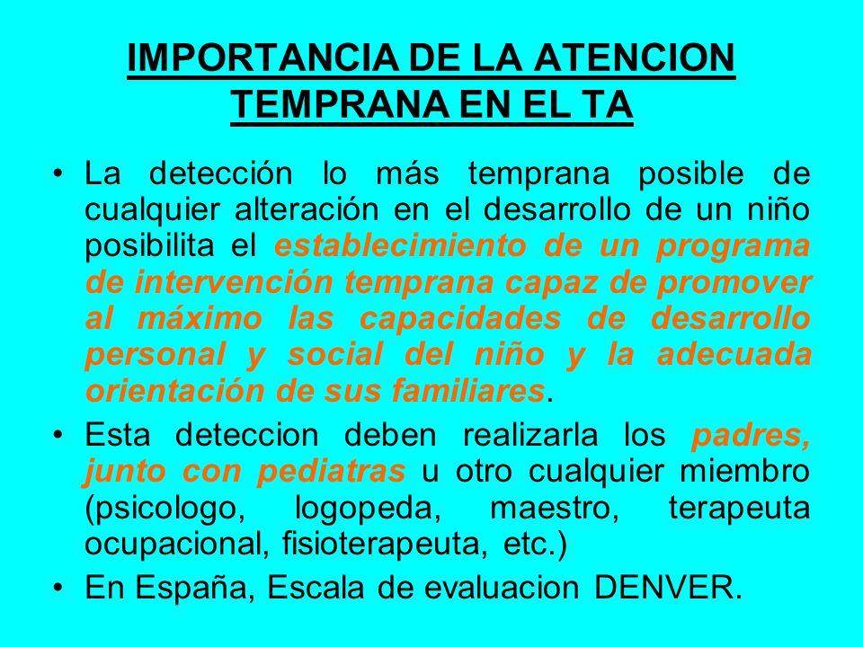 IMPORTANCIA DE LA ATENCION TEMPRANA EN EL TA