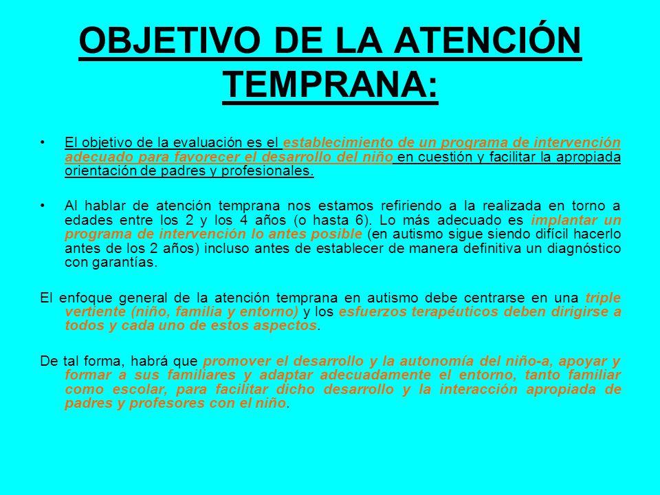 OBJETIVO DE LA ATENCIÓN TEMPRANA: