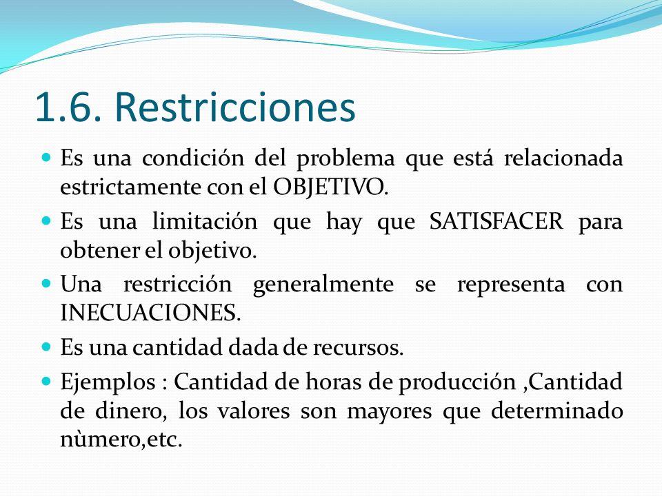 1.6. Restricciones Es una condición del problema que está relacionada estrictamente con el OBJETIVO.