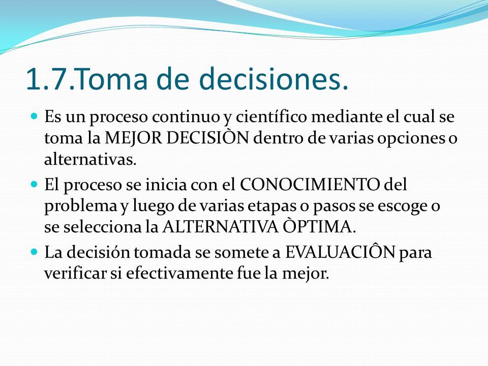 1.7.Toma de decisiones. Es un proceso continuo y científico mediante el cual se toma la MEJOR DECISIÒN dentro de varias opciones o alternativas.