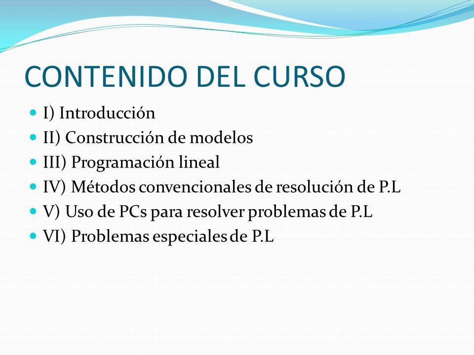 CONTENIDO DEL CURSO I) Introducción II) Construcción de modelos