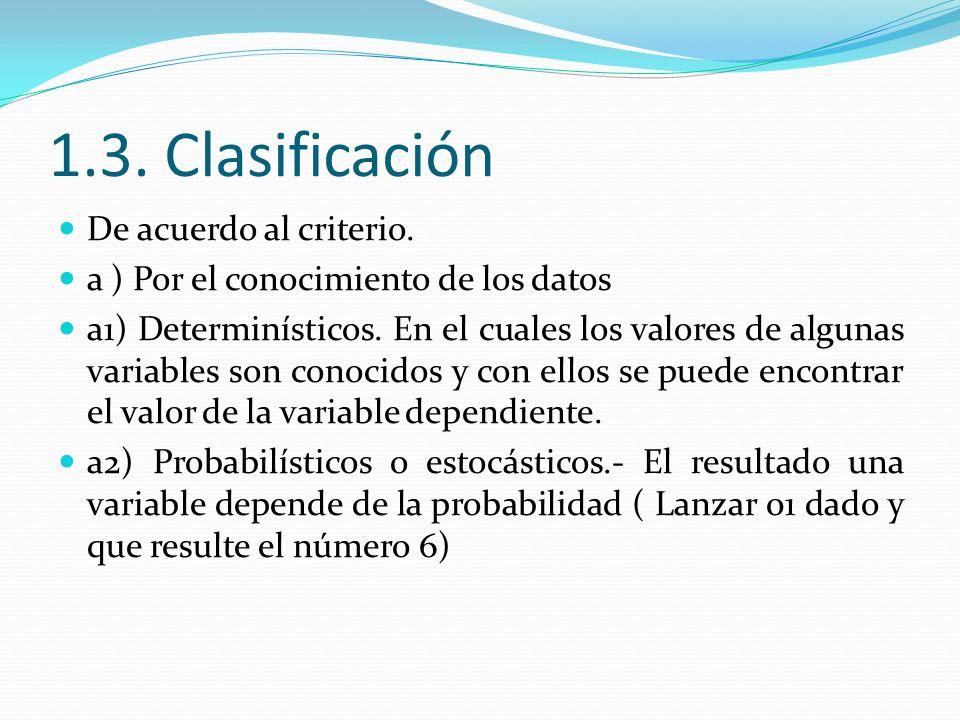 1.3. Clasificación De acuerdo al criterio.