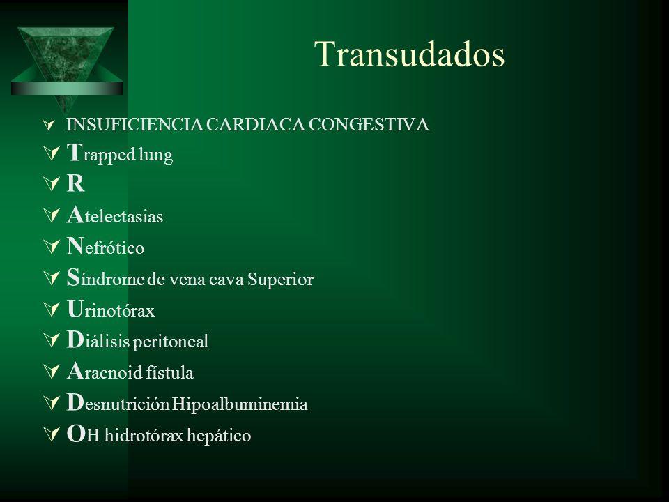 Transudados Trapped lung R Atelectasias Nefrótico