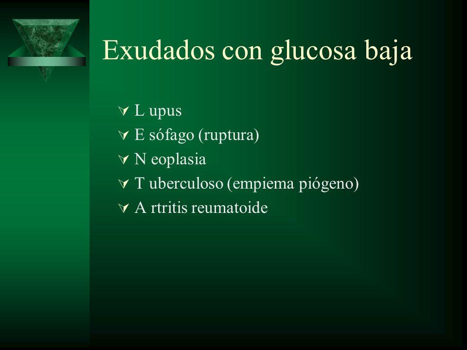 Exudados con glucosa baja