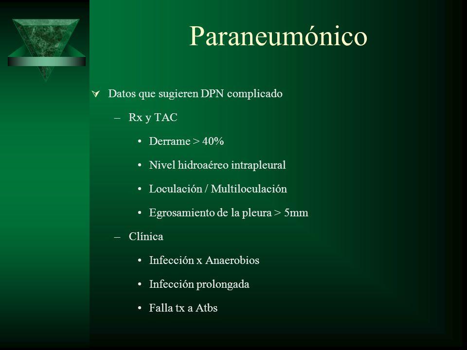 Paraneumónico Datos que sugieren DPN complicado Rx y TAC