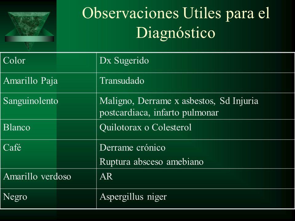 Observaciones Utiles para el Diagnóstico