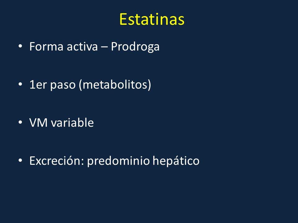 Estatinas Forma activa – Prodroga 1er paso (metabolitos) VM variable