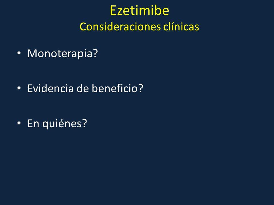 Ezetimibe Consideraciones clínicas