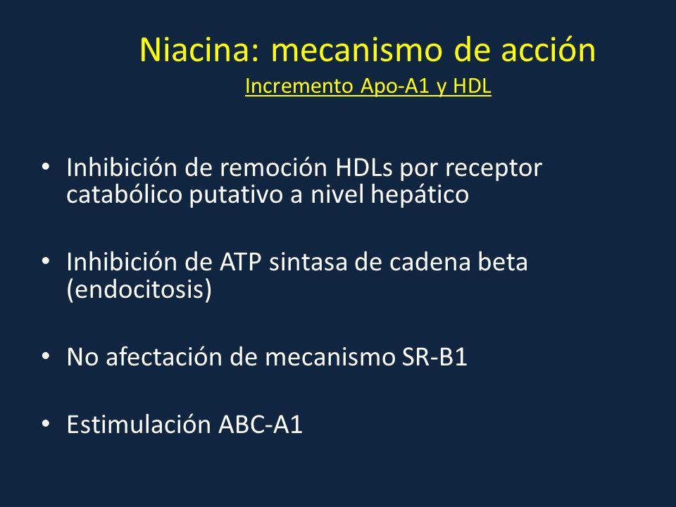 Niacina: mecanismo de acción Incremento Apo-A1 y HDL