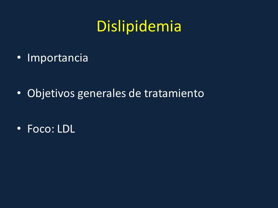 Dislipidemia Importancia Objetivos generales de tratamiento Foco: LDL