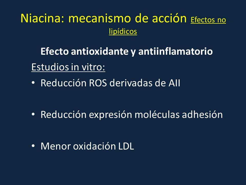 Niacina: mecanismo de acción Efectos no lipídicos