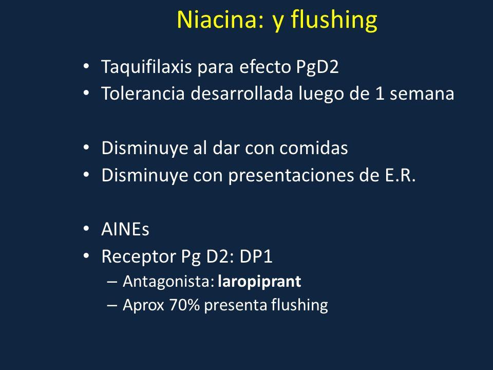 Niacina: y flushing Taquifilaxis para efecto PgD2