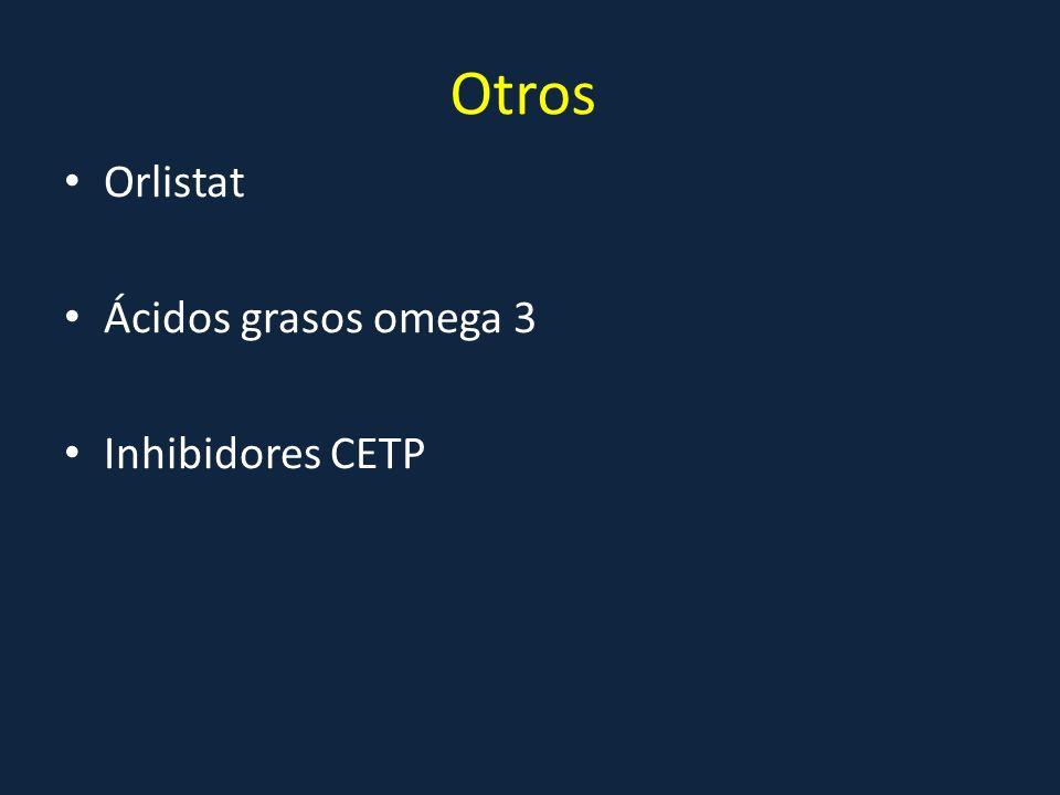 Otros Orlistat Ácidos grasos omega 3 Inhibidores CETP