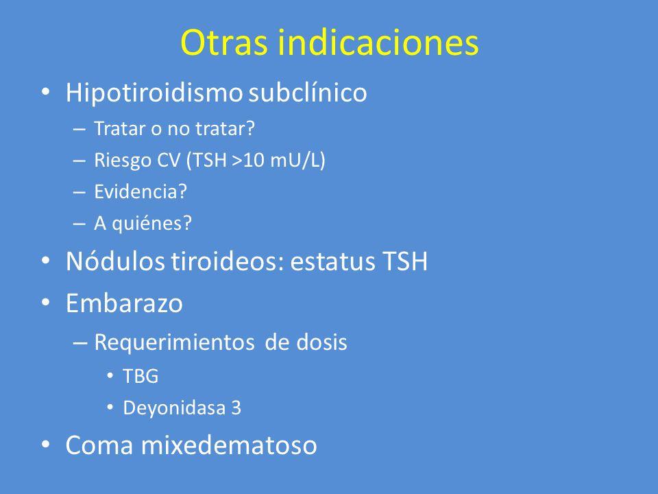 Otras indicaciones Hipotiroidismo subclínico