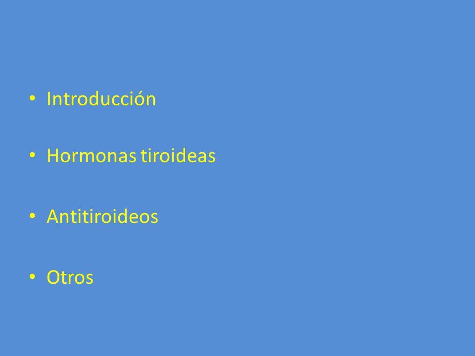 Introducción Hormonas tiroideas Antitiroideos Otros
