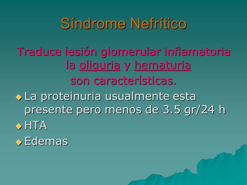 Traduce lesión glomerular inflamatoria la oliguria y hematuria