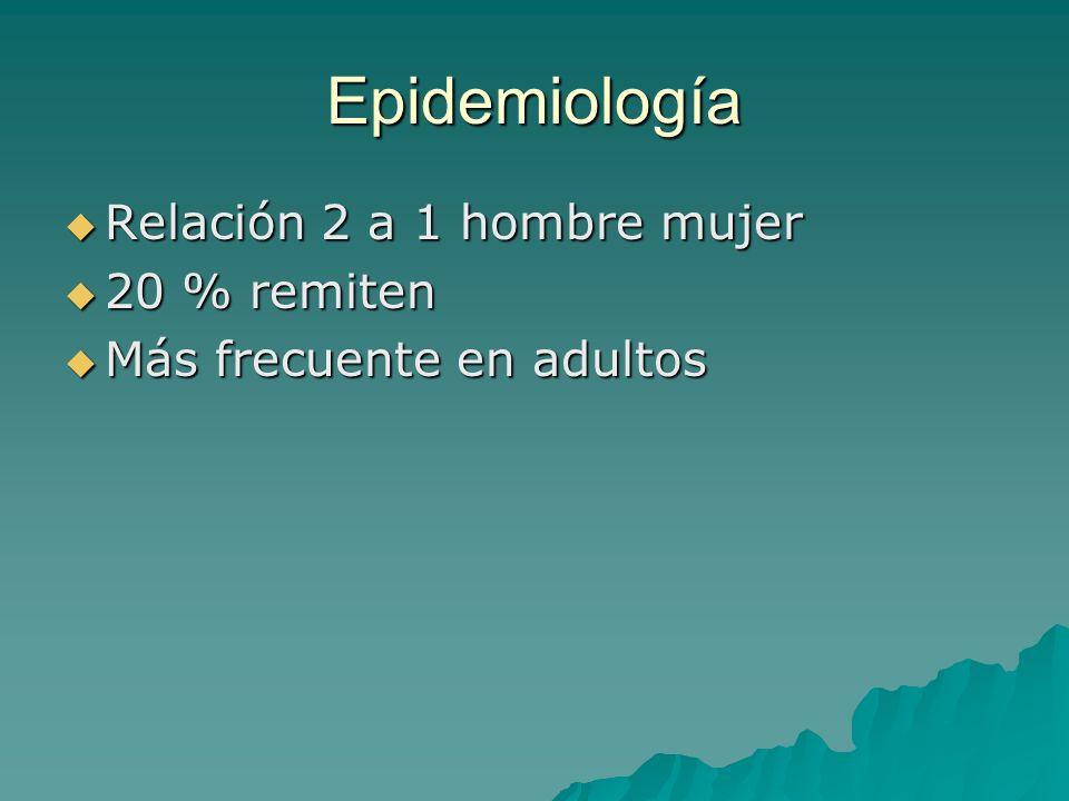 Epidemiología Relación 2 a 1 hombre mujer 20 % remiten
