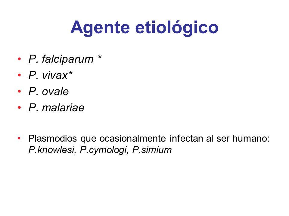 Agente etiológico P. falciparum * P. vivax* P. ovale P. malariae