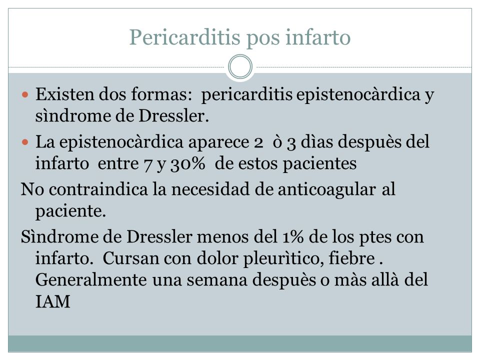Pericarditis pos infarto