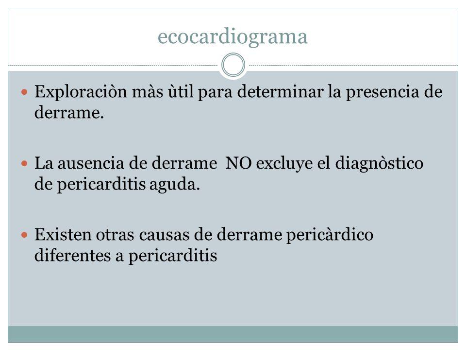 ecocardiogramaExploraciòn màs ùtil para determinar la presencia de derrame. La ausencia de derrame NO excluye el diagnòstico de pericarditis aguda.