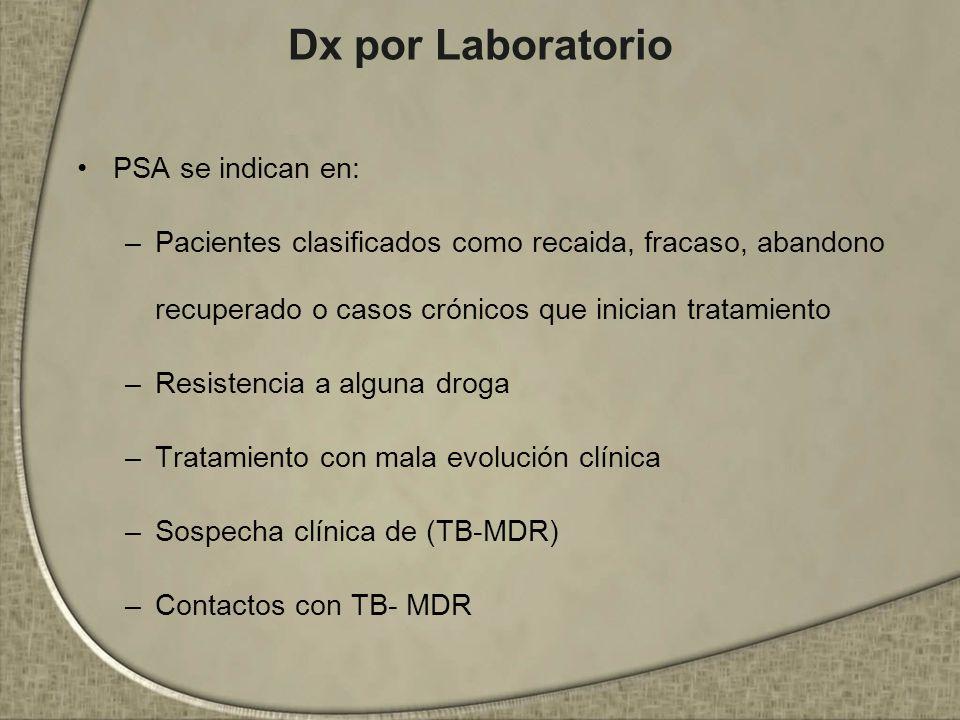 Dx por Laboratorio PSA se indican en: