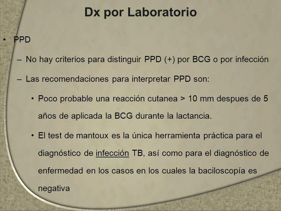 Dx por Laboratorio PPD. No hay criterios para distinguir PPD (+) por BCG o por infección. Las recomendaciones para interpretar PPD son: