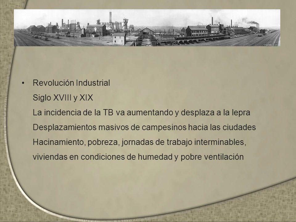Revolución Industrial Siglo XVIII y XIX La incidencia de la TB va aumentando y desplaza a la lepra Desplazamientos masivos de campesinos hacia las ciudades Hacinamiento, pobreza, jornadas de trabajo interminables, viviendas en condiciones de humedad y pobre ventilación