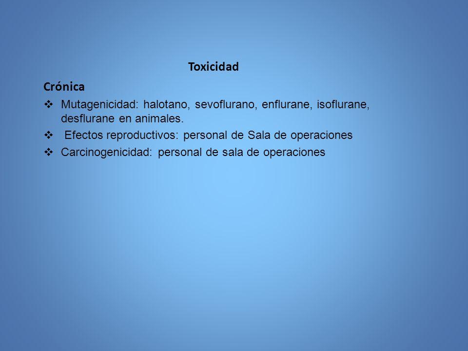 Toxicidad Crónica. Mutagenicidad: halotano, sevoflurano, enflurane, isoflurane, desflurane en animales.