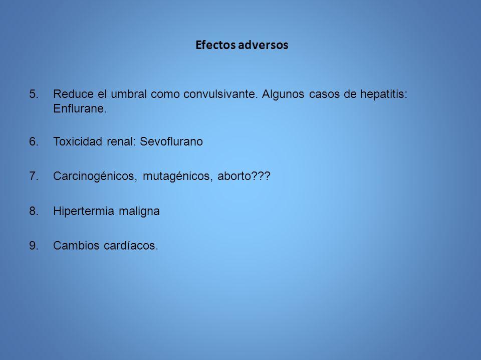 Efectos adversos Reduce el umbral como convulsivante. Algunos casos de hepatitis: Enflurane. Toxicidad renal: Sevoflurano.