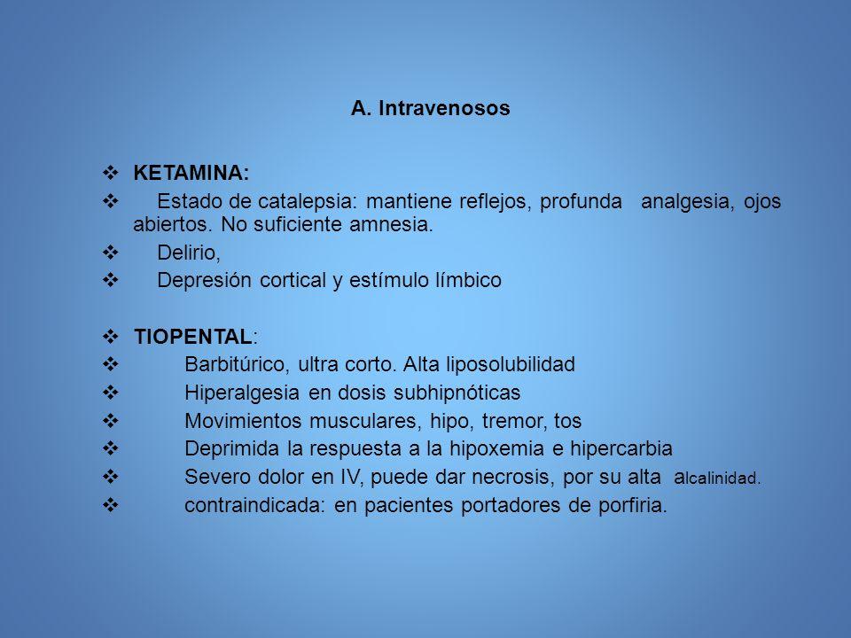 A. Intravenosos KETAMINA: Estado de catalepsia: mantiene reflejos, profunda analgesia, ojos abiertos. No suficiente amnesia.