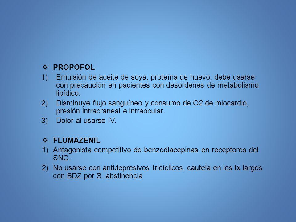 PROPOFOL Emulsión de aceite de soya, proteína de huevo, debe usarse con precaución en pacientes con desordenes de metabolismo lipídico.