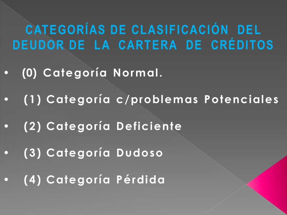 CATEGORÍAS DE CLASIFICACIÓN DEL DEUDOR DE LA CARTERA DE CRÉDITOS