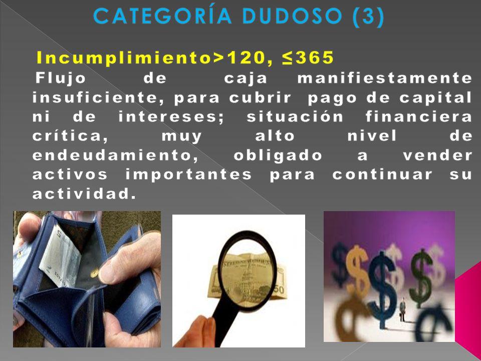 CATEGORÍA DUDOSO (3) Incumplimiento>120, ≤365