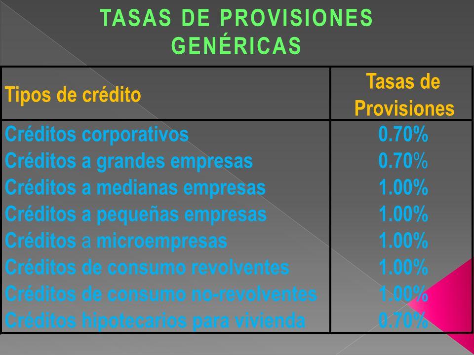TASAS DE PROVISIONES GENÉRICAS
