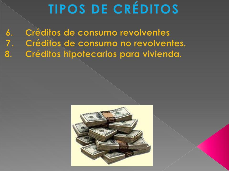 TIPOS DE CRÉDITOS 6. Créditos de consumo revolventes