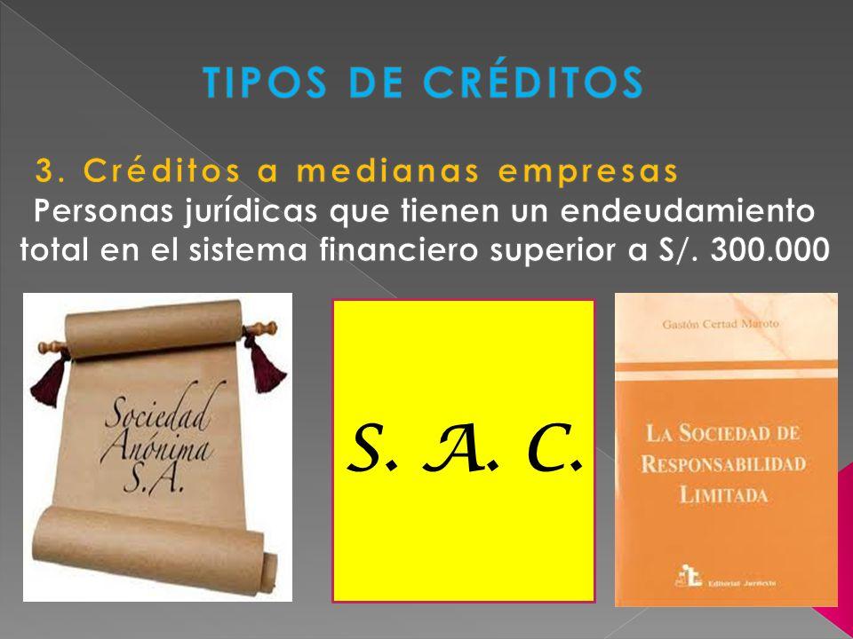 S. A. C. TIPOS DE CRÉDITOS 3. Créditos a medianas empresas