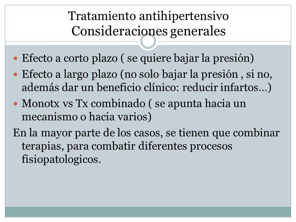 Tratamiento antihipertensivo Consideraciones generales
