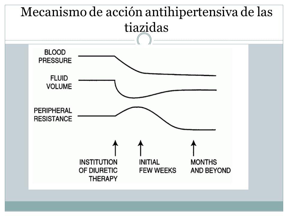 Mecanismo de acción antihipertensiva de las tiazidas