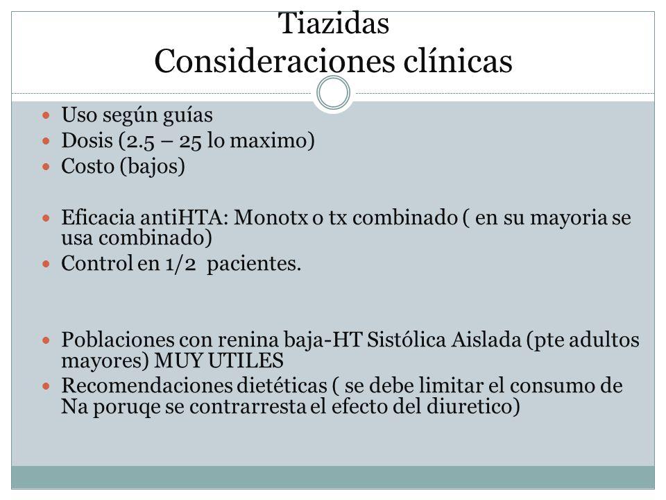 Tiazidas Consideraciones clínicas