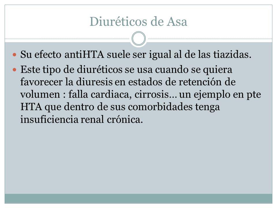 Diuréticos de Asa Su efecto antiHTA suele ser igual al de las tiazidas.