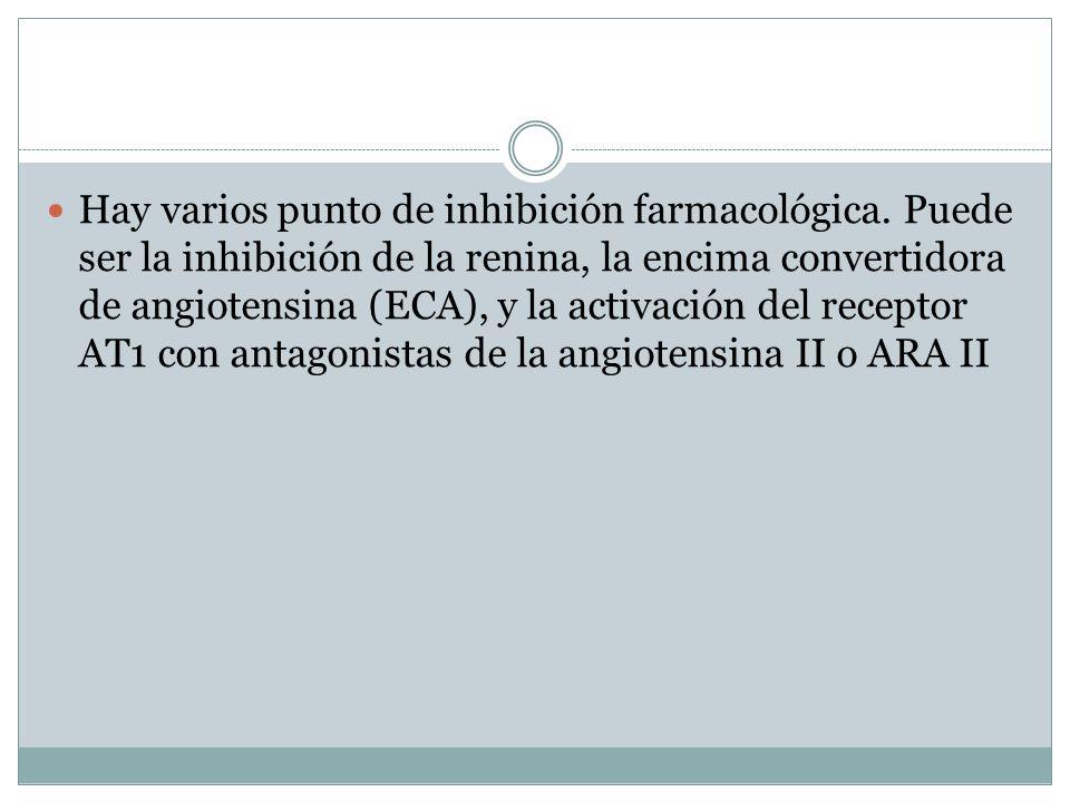 Hay varios punto de inhibición farmacológica