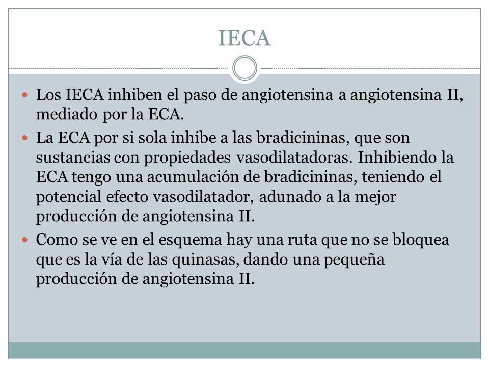 IECA Los IECA inhiben el paso de angiotensina a angiotensina II, mediado por la ECA.